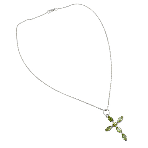 Handmade Jewelry Manufacturer 925 Sterling Silver Single Chain, Lobster-claw hook, curb chain, Peridot Cross Pendant Necklace Jaipur Rajasthan India
