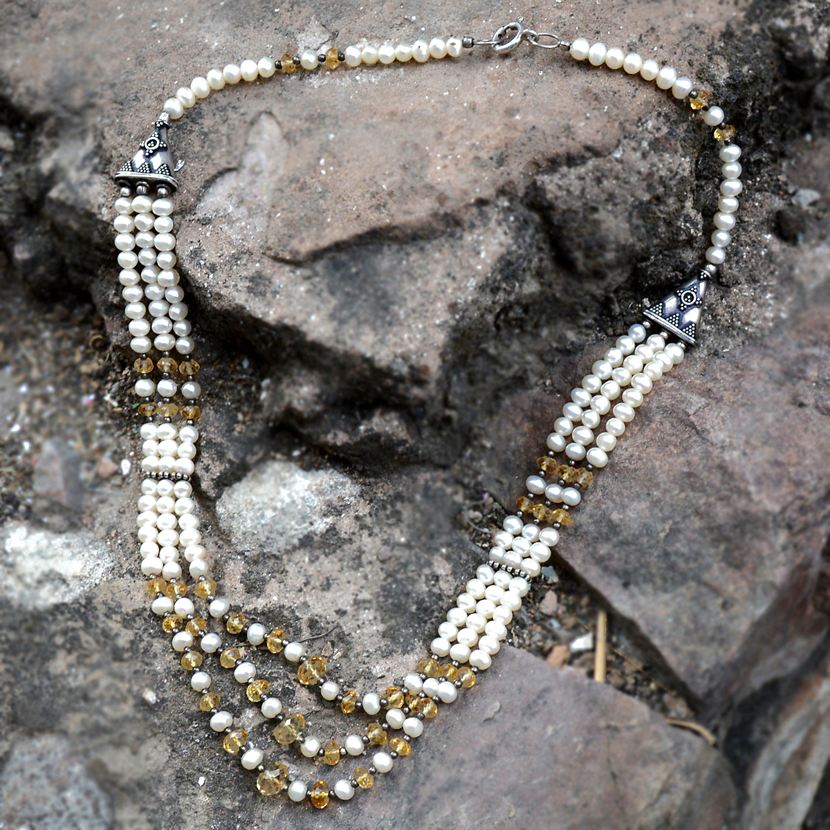 Handmade Jewelry Manufacturer 925 Sterling Silver, Beaded Pearl & Citrine, Layering Spring-ring hook, 3 Wrap Necklace Jaipur Rajasthan India