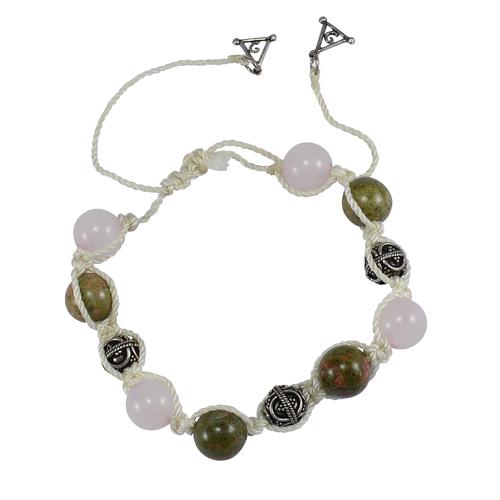 Handmade Jewelry Manufacturer Beaded Unakite & Rose Quartz- 925 Sterling Silver Ball & Triangle Charm- White Cord- Adjustable Bracelet Jaipur Rajasthan India