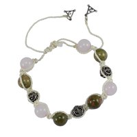 Handmade Jewelry Manufacturer Beaded Unakite & Rose Quartz- 925 Sterling Silver Ball & Triangle Charm- White Cord- Adjustable Bracelet Jaipur Rajasthan India
