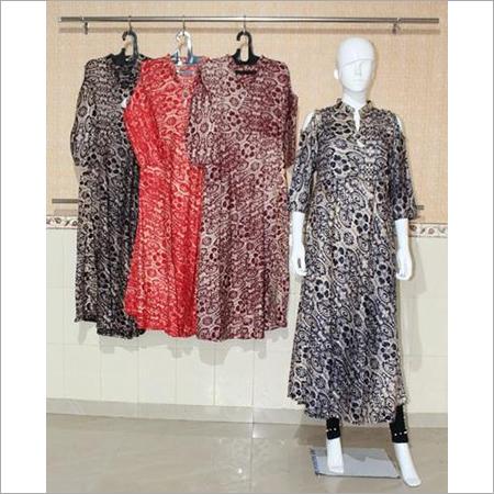 Women Rayon Designer Off Shoulder Kurti