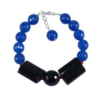 Handmade Jewelry Manufacturer Lobster-claw Hook, Round-Rectangle Black Onyx & Blue Quartz, 925 Sterling Silver Bracelet Jaipur Rajasthan India