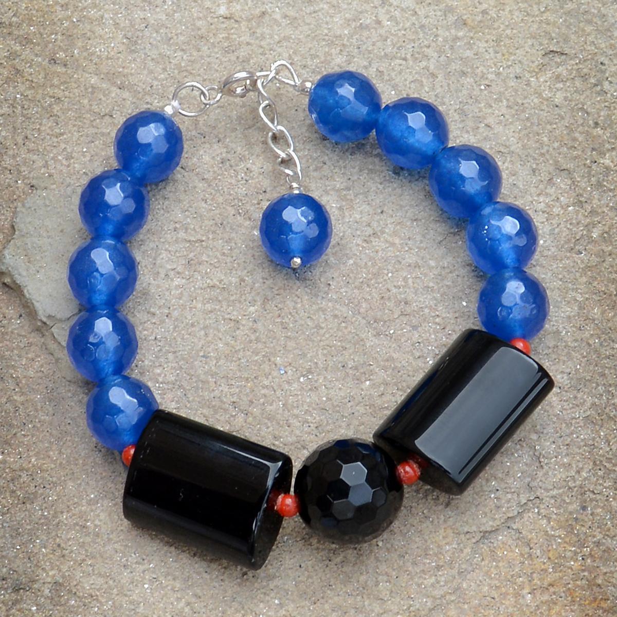 Handmade Jewelry Manufacturer Lobster-claw Hook, Round-Rectangle Black Onyx & Blue Quartz, 925 Sterling Silver Bracelet Jaipur Rajasthan India