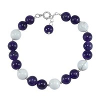 Handmade Jewelry Manufacturer Round Beaded Amethyst & Howlite , Spring-ring hook, 925 Sterling Silver With Rolo Chain Bracelet Jaipur Rajasthan India