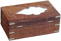 Wooden Rectangular Tissue Box Cover Decorated With Brass Inlay