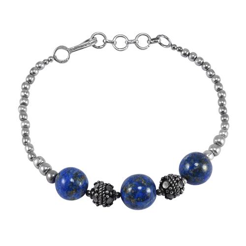 Handmade Jewelry Manufacturer Round Blue Beads Lapis Lazuli- 925 Sterling Silver Ball Chain Bracelet Jaipur Rajasthan India