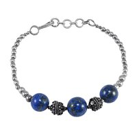 Handmade Jewelry Manufacturer Round Blue Beads Lapis Lazuli- 925 Sterling Silver Ball Chain Bracelet Jaipur Rajasthan India