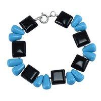 Handmade Jewelry Manufacturer Turquoise & Black Onyx, 925 Sterling Silver, Spring-ring hook Bracelet Jaipur Rajasthan India