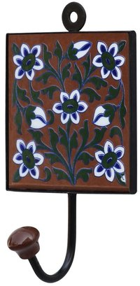 Square Ceramic Wall Hook Tile In Iron Frame