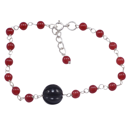 Handmade Jewelry Manufacturer 925 Sterling Silver, Beaded Red Onyx & Hand-carved Black Quartz, Rolo Chain bracelet Jaipur Rajasthan India