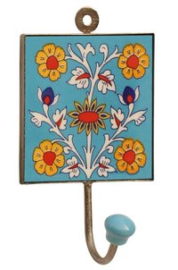 Ceramic Wall Hook Hand Painted Floral Motifs On Blue Base