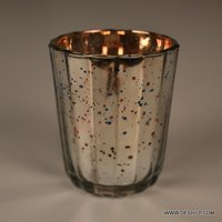 Silver Glass Candle Holder