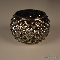 Glass Candle Holder Silver Finish