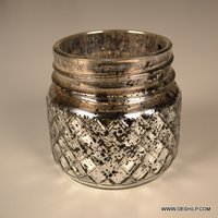 Silver Decor Glass Jar