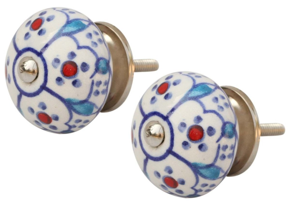 Ceramic Door Knobs Hand Painted Floral Motifs On White Base