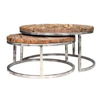Metallic Shiny Coffee Table With Old (Sleeper) Wood Top