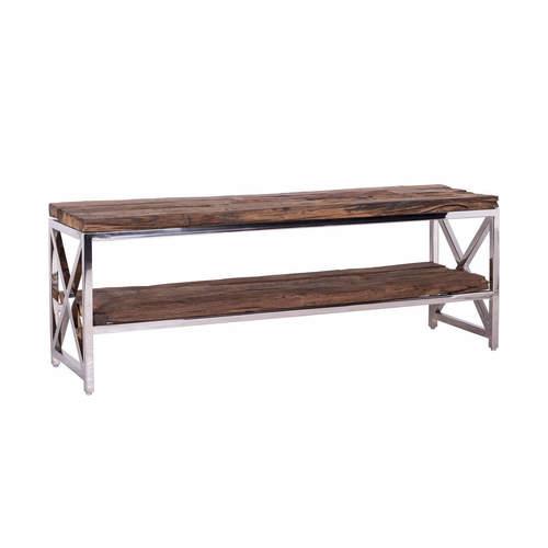 Metallic Shiny Bench With Old (Sleeper) Wood Shelves