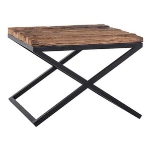 Iron Black Finished Coffee Table With Old (Sleeper) Wood Top
