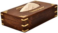 Wooden Tissue & Napkin Holder Box With Brass Inlay