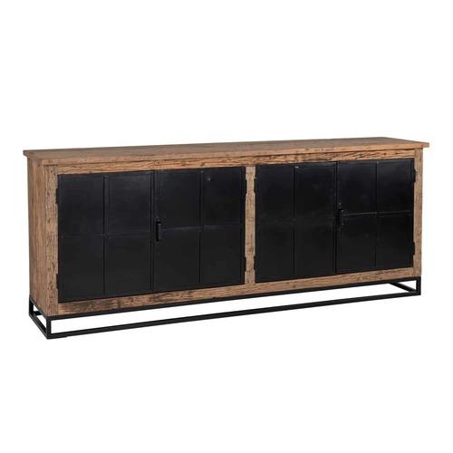 Iron Black Finished Storage Cabinet With Old (Sleeper) Wood