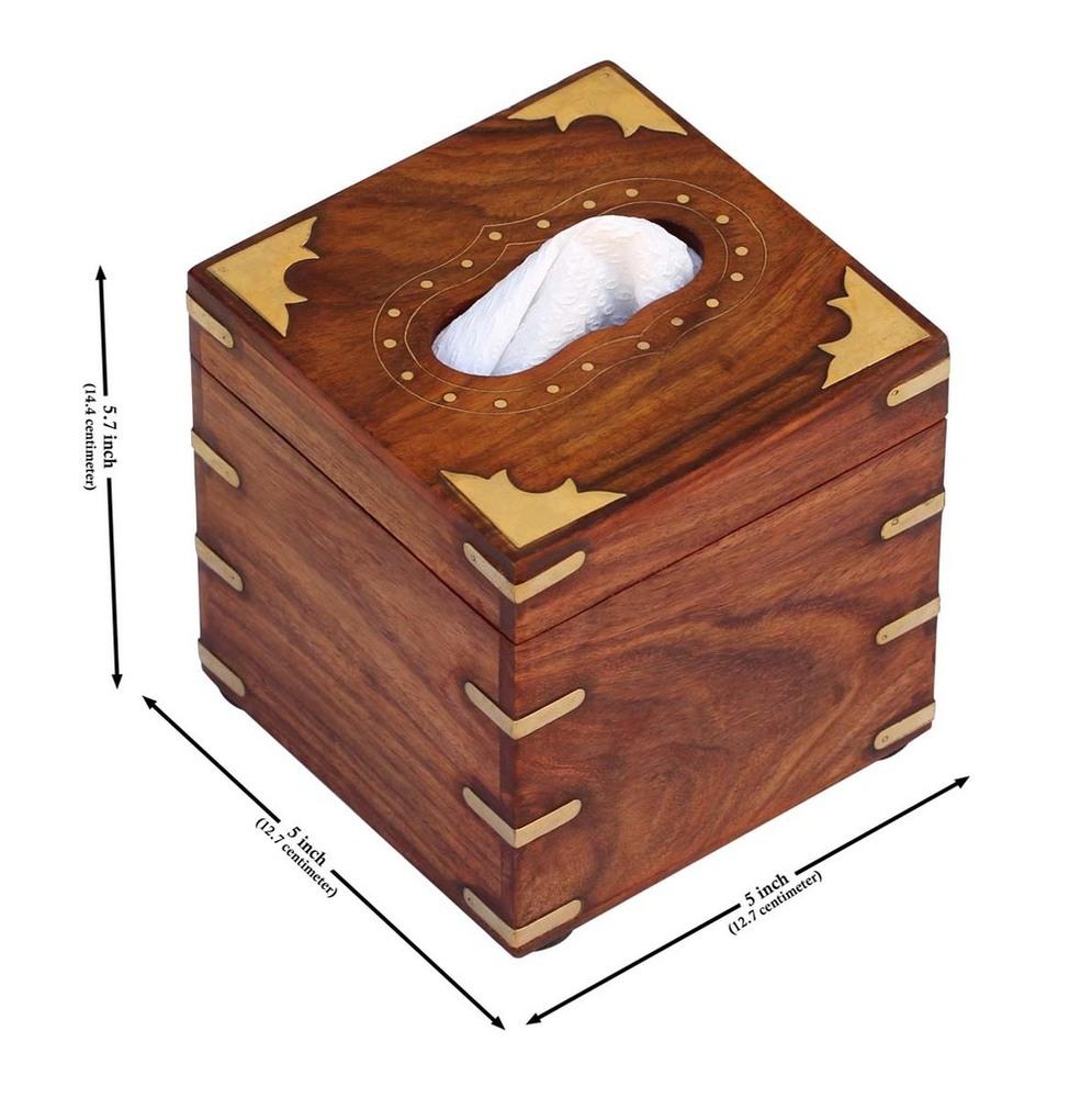 WoodenTissue Holder Box Dispenser with Brass Inlay