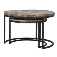 Iron Black Finished Round Set Of 2 Coffee Table With Old (Sleeper) Wood