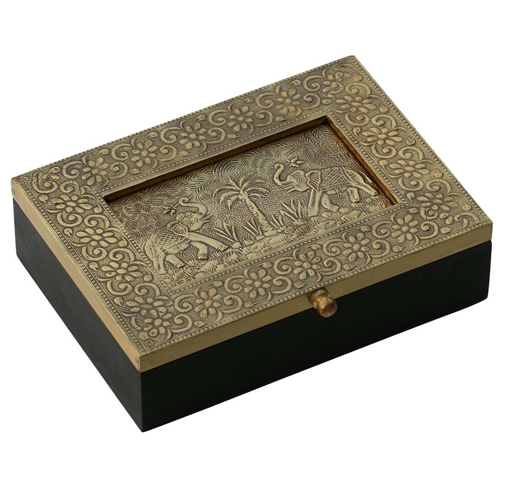 Wooden Jewelry Box Brass Sheet Embossed Palms
