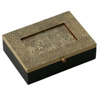 Wooden Jewelry Box Brass Sheet Embossed Palms