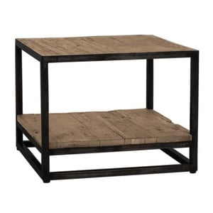 Iron Black Finished Corner Table With Old(Sleeper) Wood Top And Shelf
