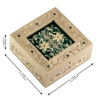 Wooden Jewelry Box Hand Painted Golden Color