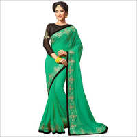 Designer Green Georgette Saree