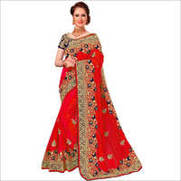 Designer Embroidered Red Saree