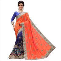 Designer Orange Embroidered Saree