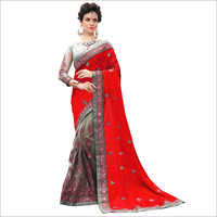 Embroidered Designer Net Saree