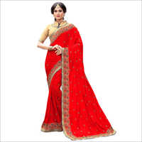 Designer Red Silk Saree