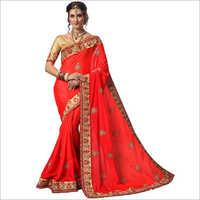 Fancy Red Satin Embroidered Saree