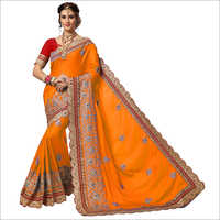 Fancy Orange Heavy Embroidered Saree