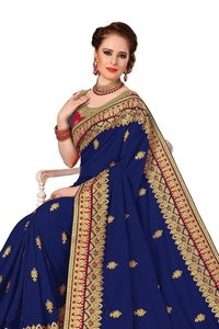 Fancy Heavy Embroidered Border Work Saree