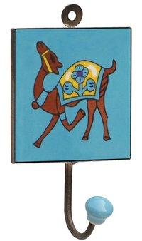 Ceramic Wall Hooks Handmade With Elephant Painting On Yellow Base