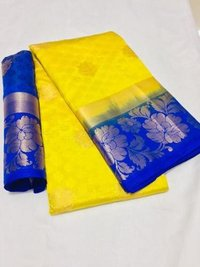 Flower Butta Kanjivaram Saree With Jacquard Work