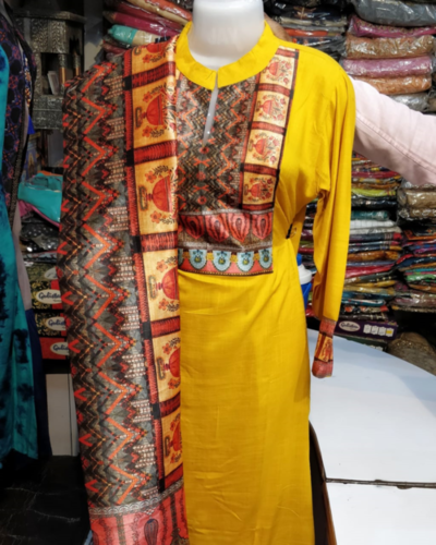Kuri plazo set with printed dupatta