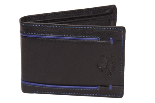 Black Leather Stripped Wallet For Men