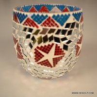 MOSAIC DECORATED GLASS CANDLE HOLDER