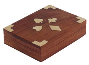 Carved Wooden Playing Card Box