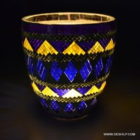 Blue & Yellow Mosaic Candle Holder