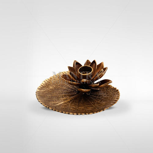 Bronze Lotus Leaf Candle Holder