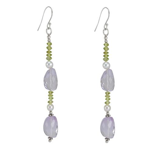 Jaipur Rajasthan India Amethyst, Peridot & Pearl Gemstone 925 Sterling Silver Earring Handmade Jewelry Manufacturer