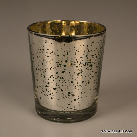 Small Silver Glass T Light Candle Holder