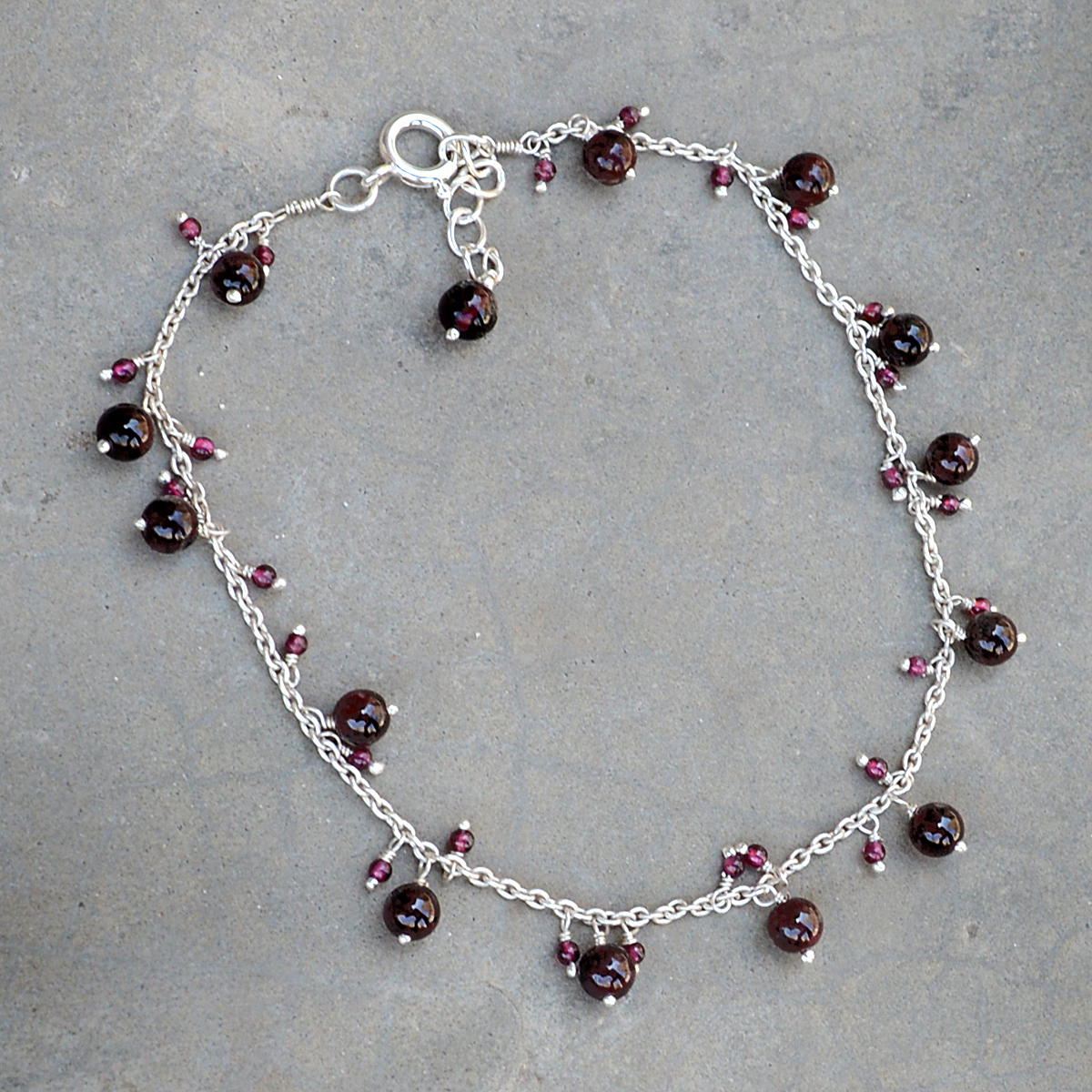 Handmade Jewelry Manufacturer Garnet 925 Sterling Silver Single Anklet Jaipur Rajasthan India