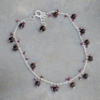 Handmade Jewelry Manufacturer Garnet 925 Sterling Silver Single Anklet Jaipur Rajasthan India